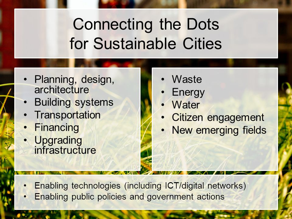 Connecting the Dots for Sustainable Cities Planning, design, architecture Building systems Transportation Financing Upgrading infrastructure Waste Energy Water Citizen engagement New emerging fields Enabling technologies (including ICT/digital networks) Enabling public policies and government actions