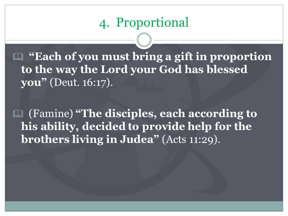 "4. Proportional  ""Each of you must bring a gift in proportion to the way the Lord your God has blessed you"" (Deut. 16:17).  (Famine) ""The disciples,"