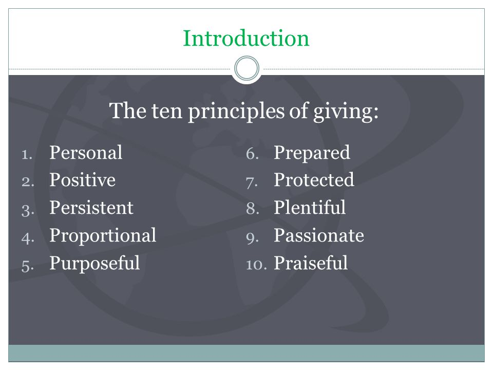Introduction 1. Personal 2. Positive 3. Persistent 4.