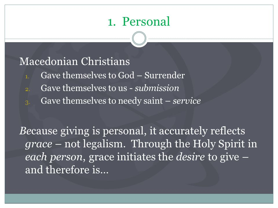 1. Personal Macedonian Christians 1. Gave themselves to God – Surrender 2. Gave themselves to us - submission 3. Gave themselves to needy saint – serv