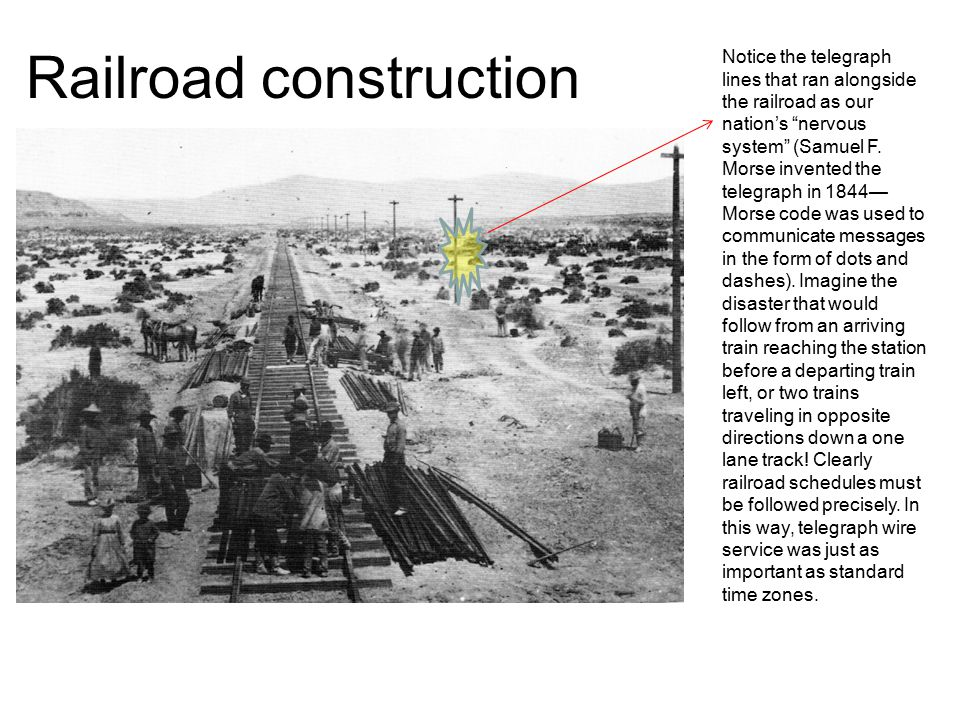 "Railroad construction Notice the telegraph lines that ran alongside the railroad as our nation's ""nervous system"" (Samuel F. Morse invented the telegr"