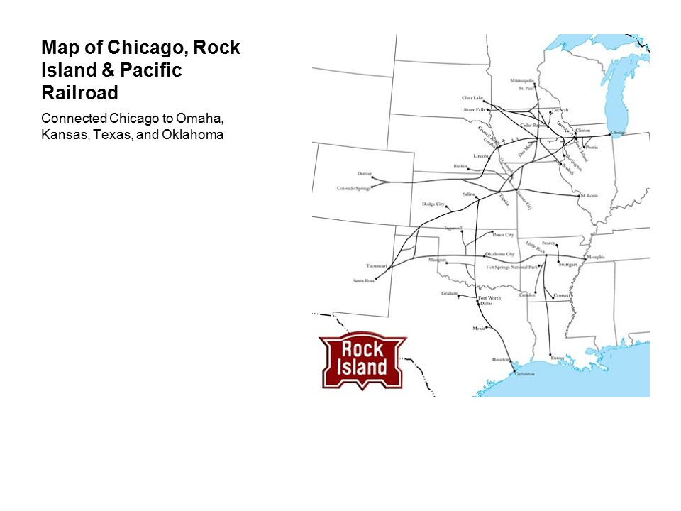 Map of Chicago, Rock Island & Pacific Railroad Connected Chicago to Omaha, Kansas, Texas, and Oklahoma