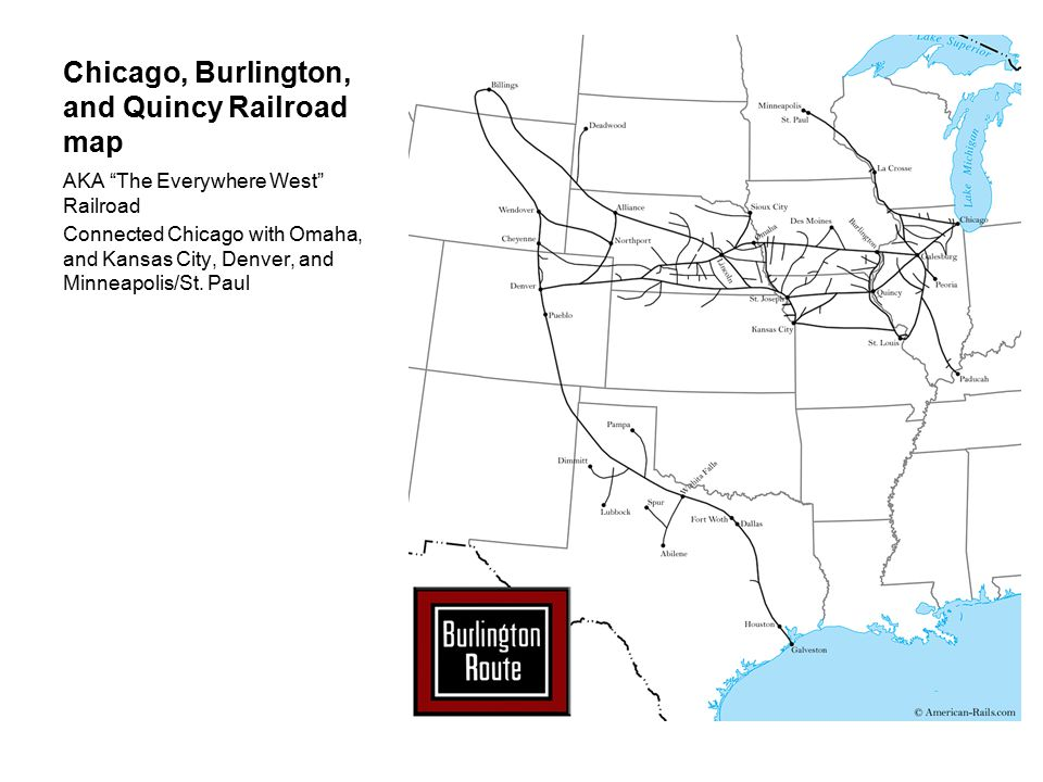 "Chicago, Burlington, and Quincy Railroad map AKA ""The Everywhere West"" Railroad Connected Chicago with Omaha, and Kansas City, Denver, and Minneapolis"