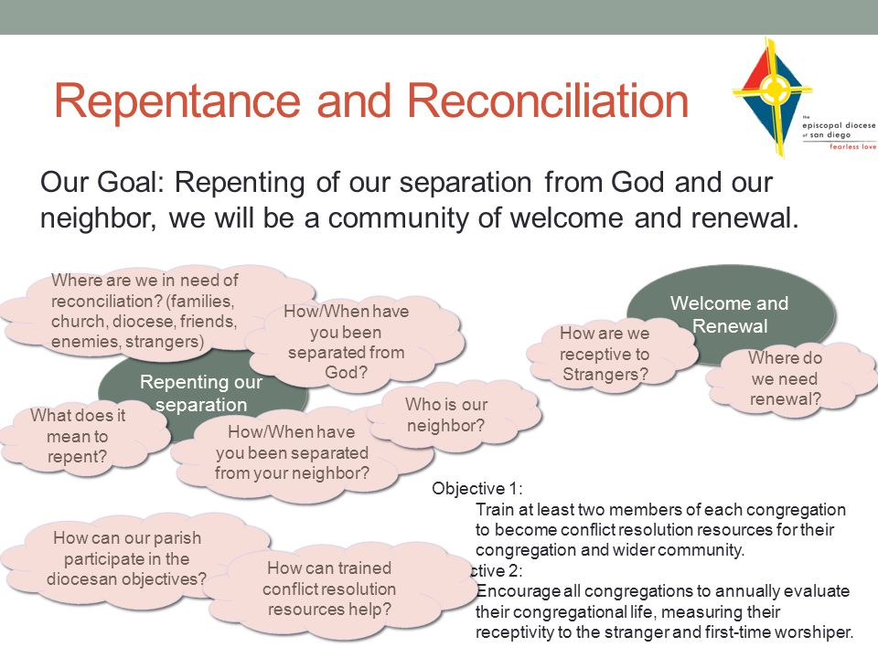 Repentance and Reconciliation Our Goal: Repenting of our separation from God and our neighbor, we will be a community of welcome and renewal.