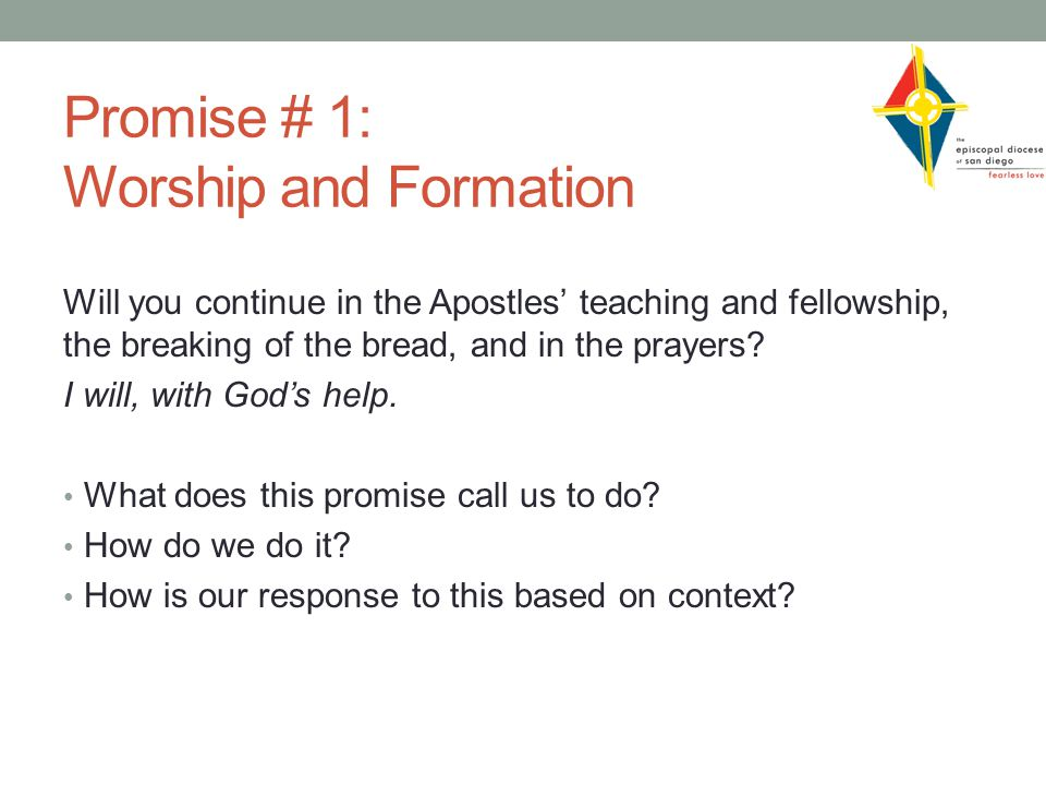 Promise # 1: Worship and Formation Will you continue in the Apostles' teaching and fellowship, the breaking of the bread, and in the prayers.