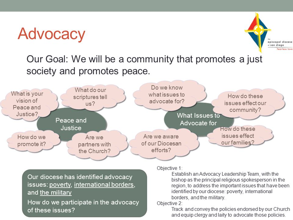 Advocacy Our Goal: We will be a community that promotes a just society and promotes peace.