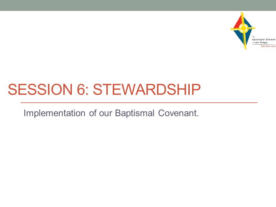 SESSION 6: STEWARDSHIP Implementation of our Baptismal Covenant.