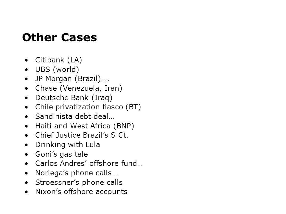 Other Cases Citibank (LA) UBS (world) JP Morgan (Brazil)….