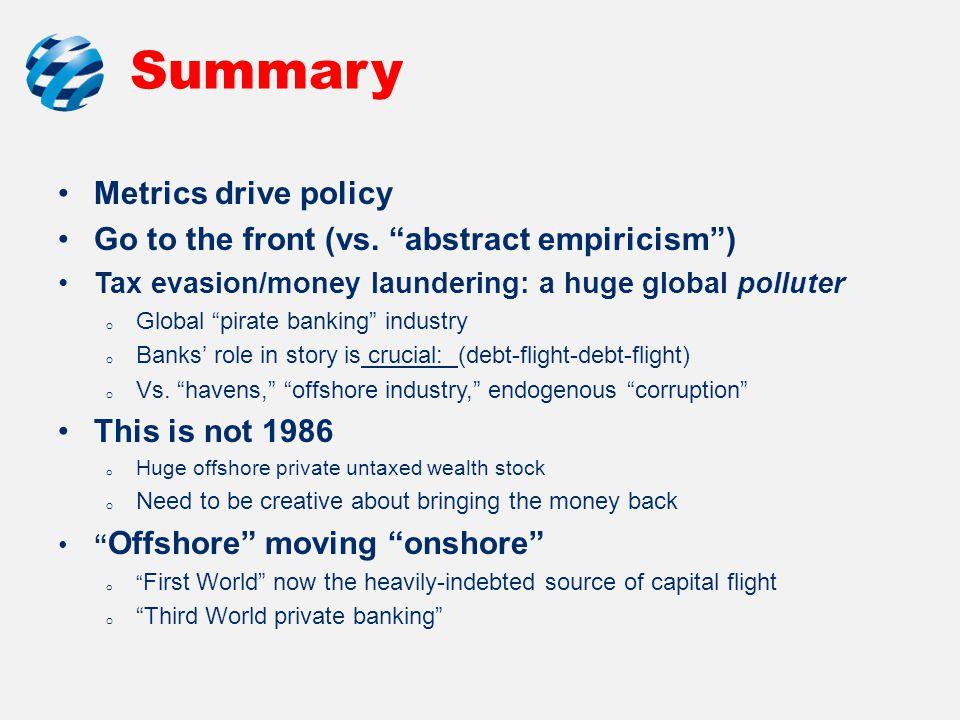 Summary Metrics drive policy Go to the front (vs.