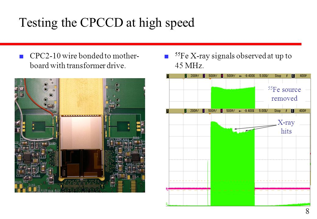 Testing the CPCCD at high speed ■ CPC2-10 wire bonded to mother- board with transformer drive.