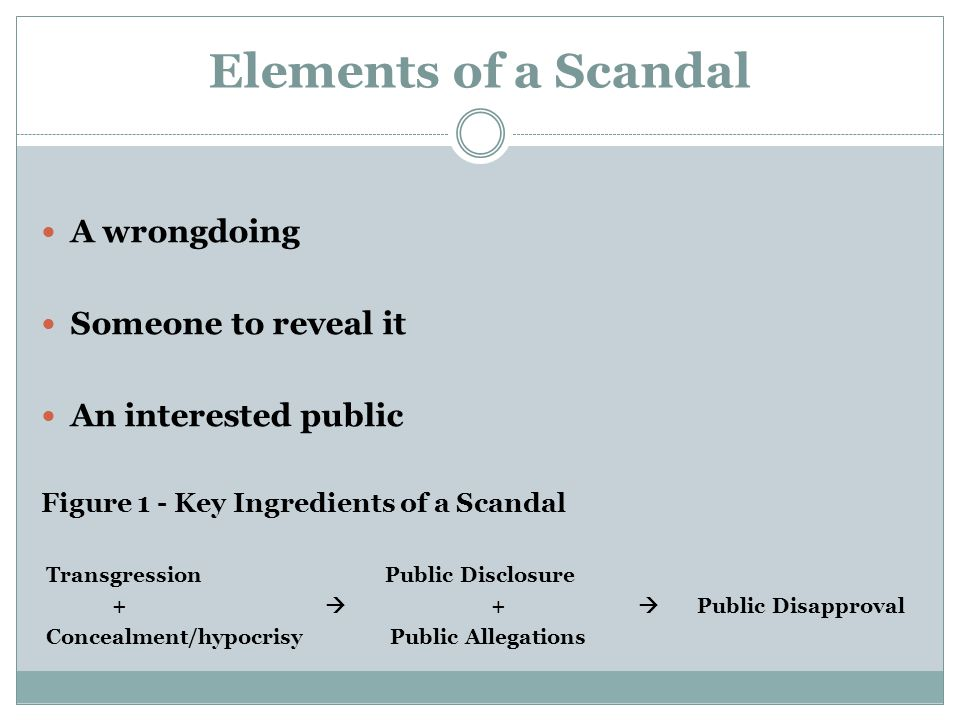 Scandal Severity Factors Hypocrisy Cover up Weak or implausible denials Serious or uniqueness of transgression Social status or celebrity of those involved Contamination effect Who gets blamed