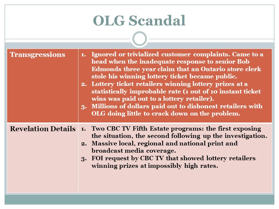 OLG Scandal Complications that Exacerbated the Problem 1.The David/Goliath confrontation between a soft- spoken senior citizen and a seemingly callous OLG bureaucracy.