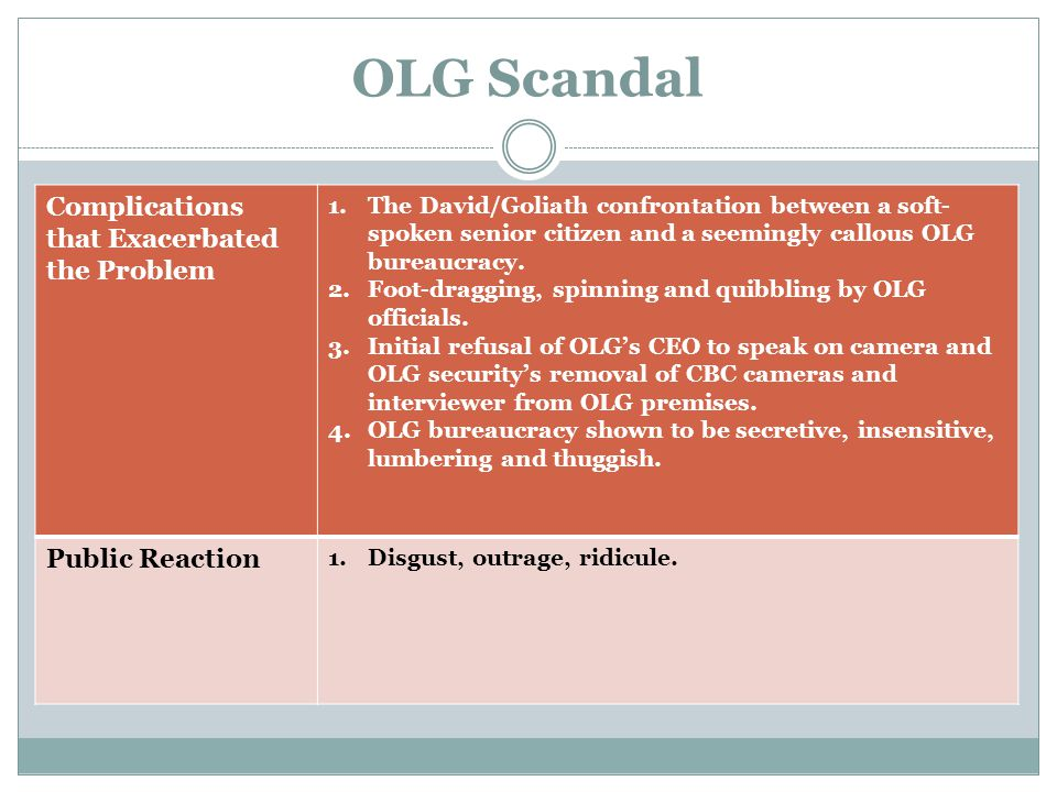 OLG Scandal Consequences 1.Erosion of public trust in OLG—in delivering his report the Ombudsman opened his press conference with the words: Confidence in our lotteries is shattered. 2.Calls for Minister's dismissal, instead OLG CEO and several other senior officials fired, but given generous severance packages.