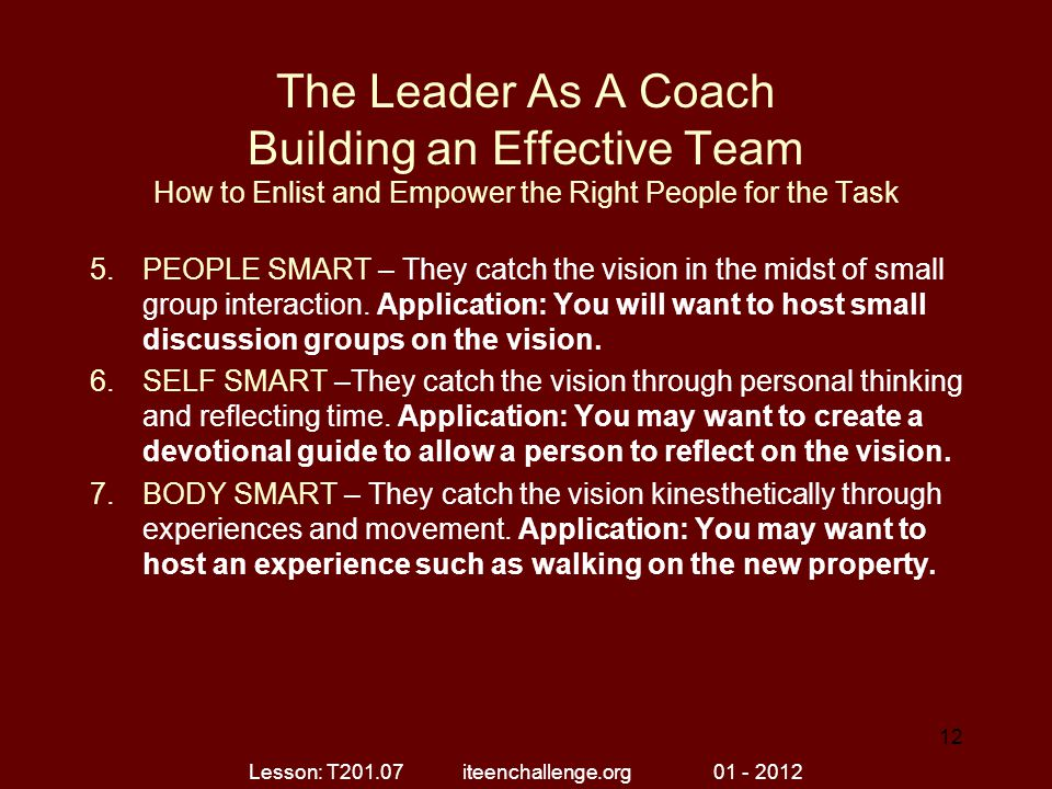 The Leader As A Coach Building an Effective Team How to Enlist and Empower the Right People for the Task 5.PEOPLE SMART – They catch the vision in the