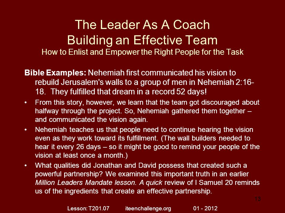 The Leader As A Coach Building an Effective Team How to Enlist and Empower the Right People for the Task Bible Examples: Nehemiah first communicated h