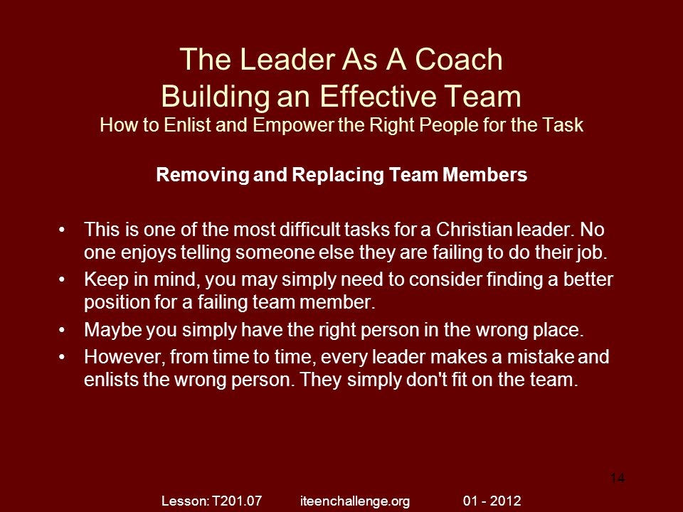 The Leader As A Coach Building an Effective Team How to Enlist and Empower the Right People for the Task Removing and Replacing Team Members This is o