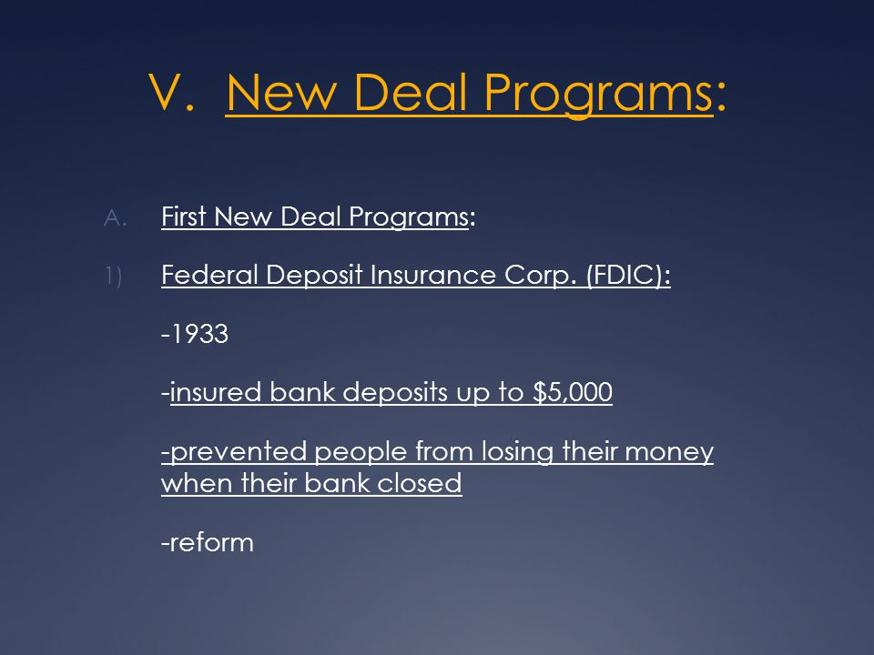V. New Deal Programs: A. First New Deal Programs: 1) Federal Deposit Insurance Corp.