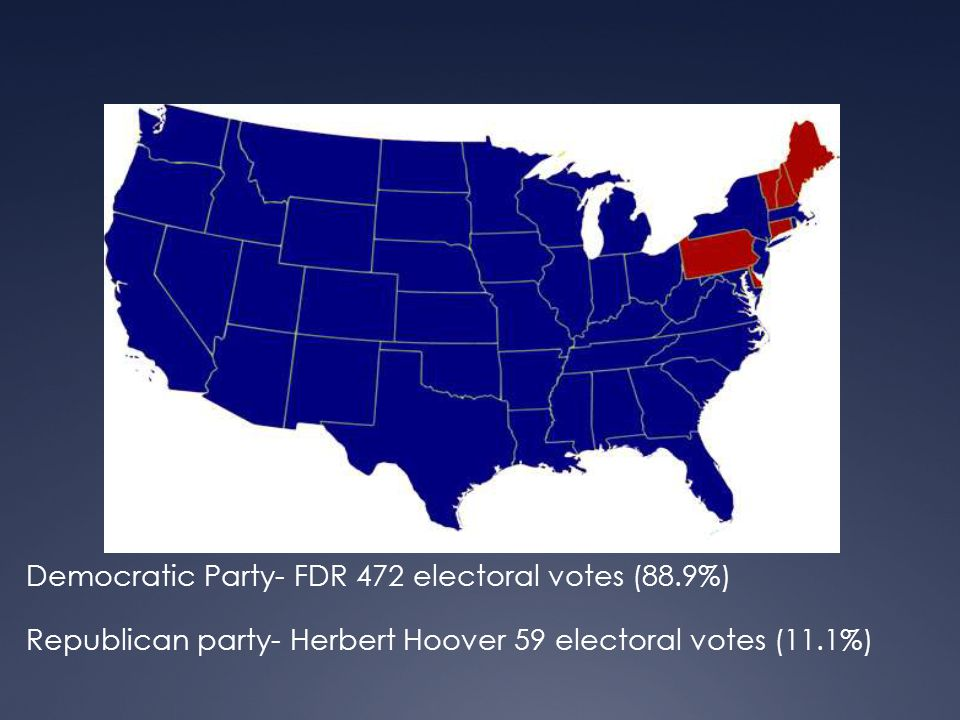 Democratic Party- FDR 472 electoral votes (88.9%) Republican party- Herbert Hoover 59 electoral votes (11.1%)