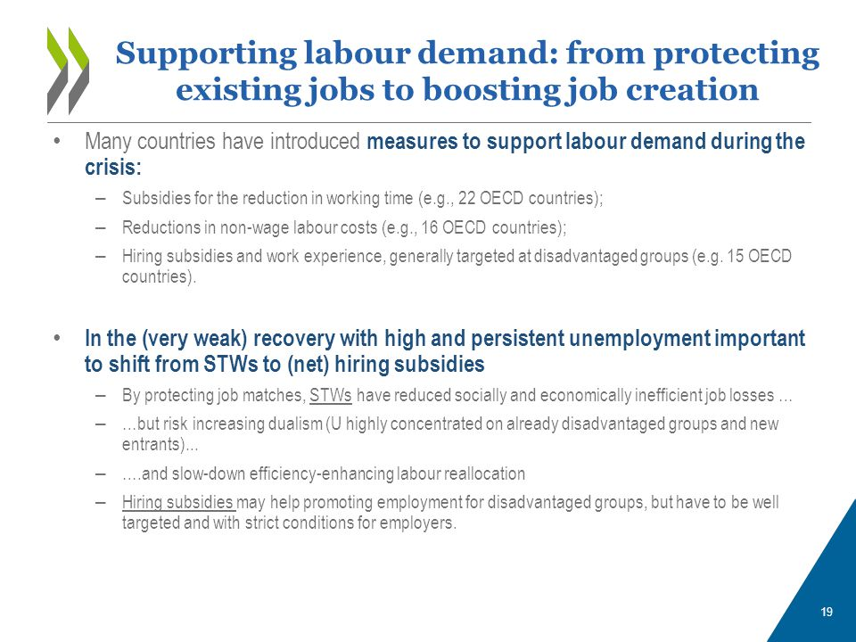 19 Many countries have introduced measures to support labour demand during the crisis: – Subsidies for the reduction in working time (e.g., 22 OECD co