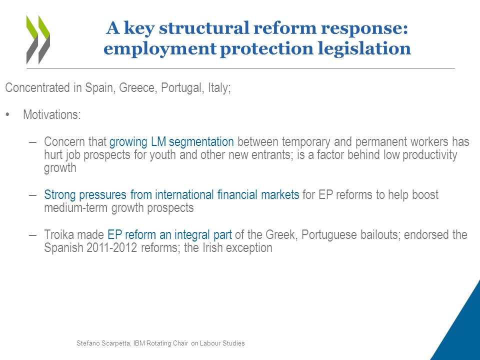 Concentrated in Spain, Greece, Portugal, Italy; Motivations: – Concern that growing LM segmentation between temporary and permanent workers has hurt j