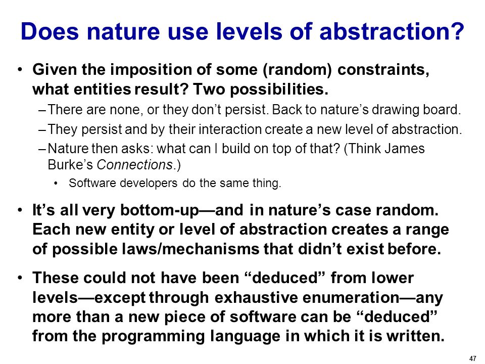 47 Does nature use levels of abstraction? Given the imposition of some (random) constraints, what entities result? Two possibilities. –There are none,