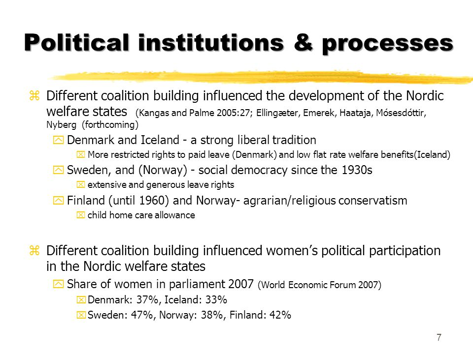 Social/cultural institutions and processes zGender equality (Plantenga, Remery & Rubery 2007; Mósesdóttir 2001, Pincus 1998) : yMeasures to enable women to become economically independent from men in their roles as mothers and workers xparental leave schemes and child care provisions yMeasures to change traditional division of work xIncrease women's educational attainments and the professional status of female dominated occupations xTackle attitudes hindering women and men to lesser extent to enter non- traditional occupations.
