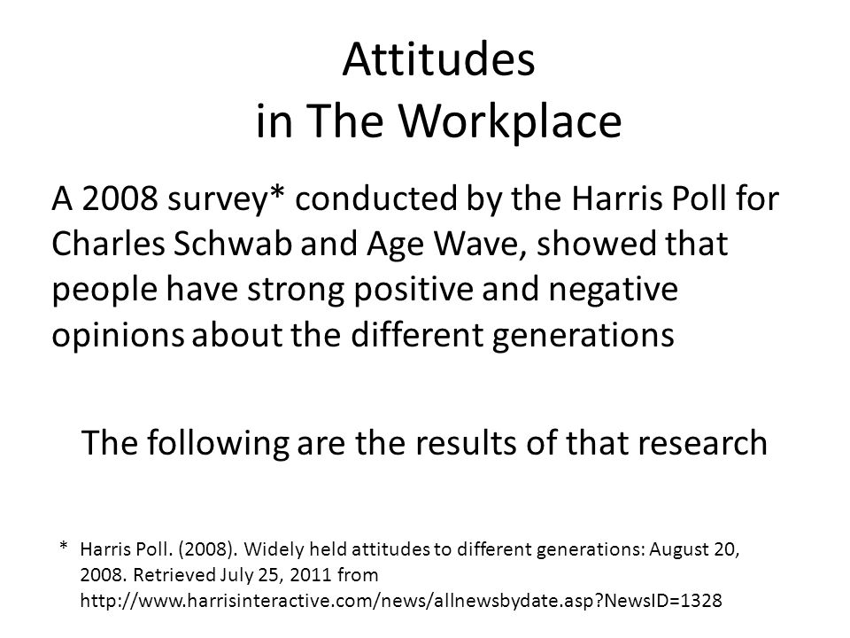 A 2008 survey* conducted by the Harris Poll for Charles Schwab and Age Wave, showed that people have strong positive and negative opinions about the d