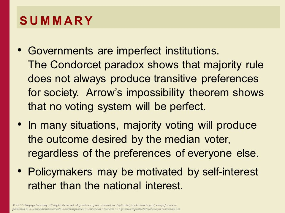 SUMMARY Governments are imperfect institutions. The Condorcet paradox shows that majority rule does not always produce transitive preferences for soci