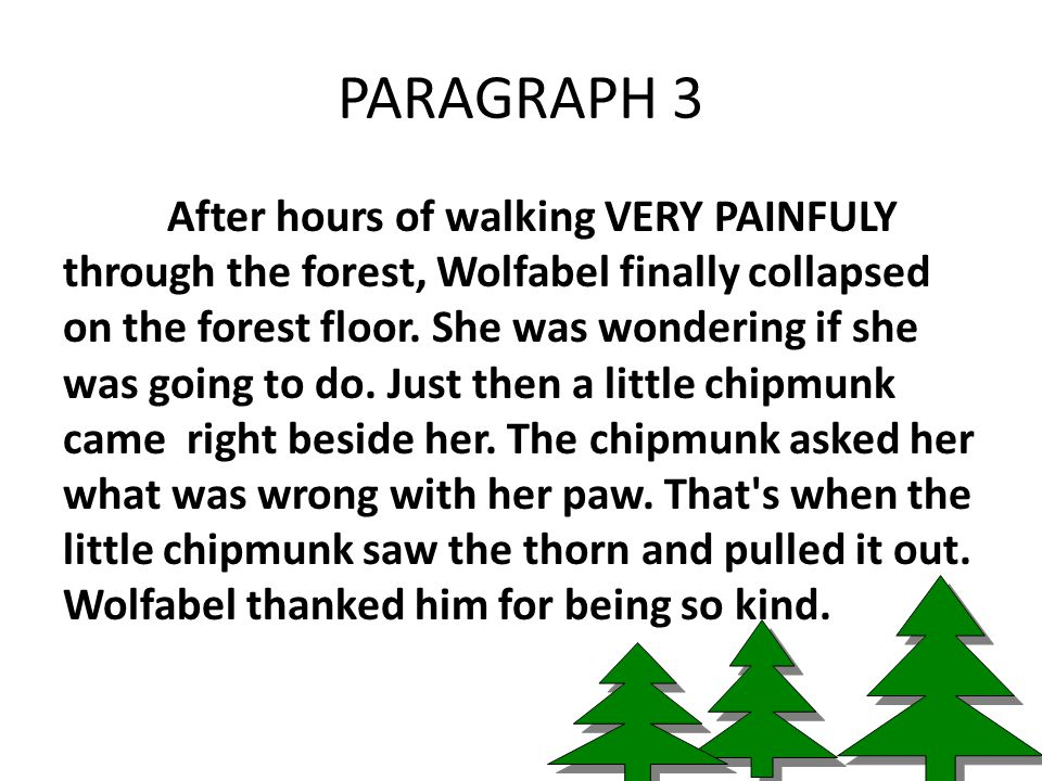 PARAGRAPH 3 After hours of walking VERY PAINFULY through the forest, Wolfabel finally collapsed on the forest floor.