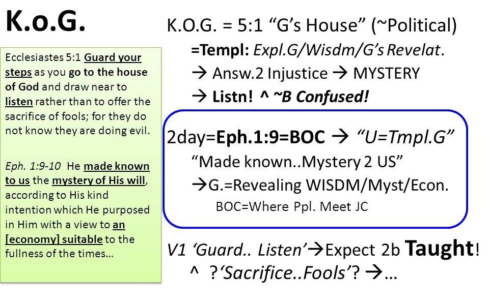 K.o.G. K.O.G. = 5:1 G's House (~Political) =Templ: Expl.G/Wisdm/G's Revelat.