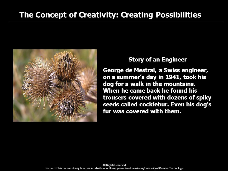 The Concept of Creativity: Creating Possibilities All Rights Reserved No part of this document may be reproduced without written approval from Limkokwing University of Creative Technology Story of an Engineer George de Mestral, a Swiss engineer, on a summer's day in 1941, took his dog for a walk in the mountains.