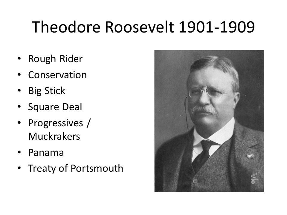 Theodore Roosevelt 1901-1909 Rough Rider Conservation Big Stick Square Deal Progressives / Muckrakers Panama Treaty of Portsmouth