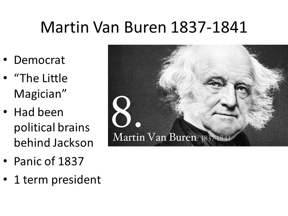 Martin Van Buren 1837-1841 Democrat The Little Magician Had been political brains behind Jackson Panic of 1837 1 term president