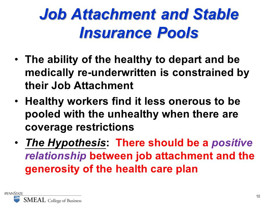 10 Job Attachment and Stable Insurance Pools The ability of the healthy to depart and be medically re-underwritten is constrained by their Job Attachment Healthy workers find it less onerous to be pooled with the unhealthy when there are coverage restrictions The Hypothesis: There should be a positive relationship between job attachment and the generosity of the health care plan