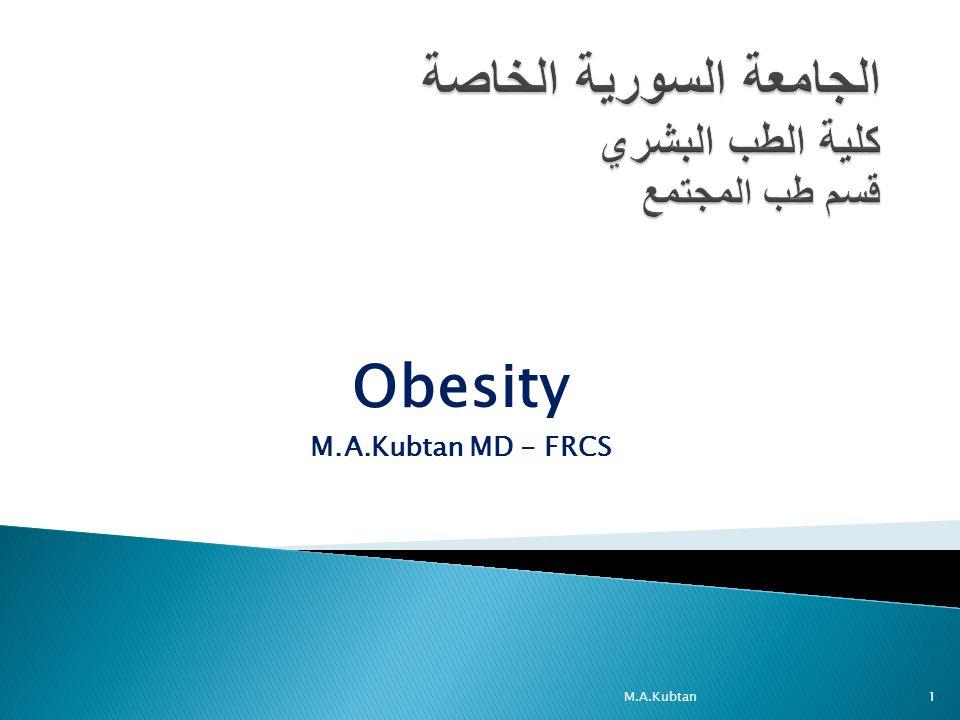 Obesity M.A.Kubtan MD - FRCS M.A.Kubtan1