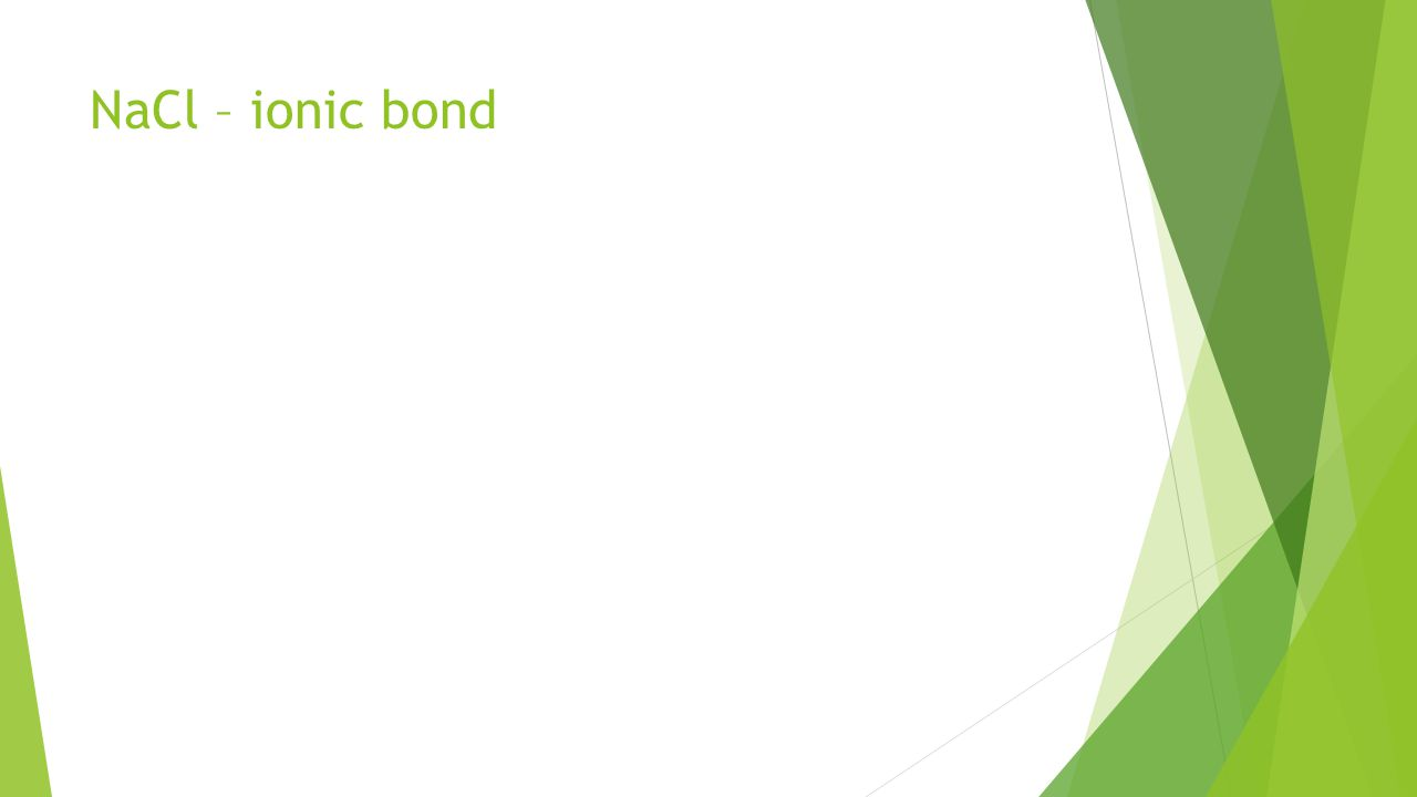 NaCl – ionic bond