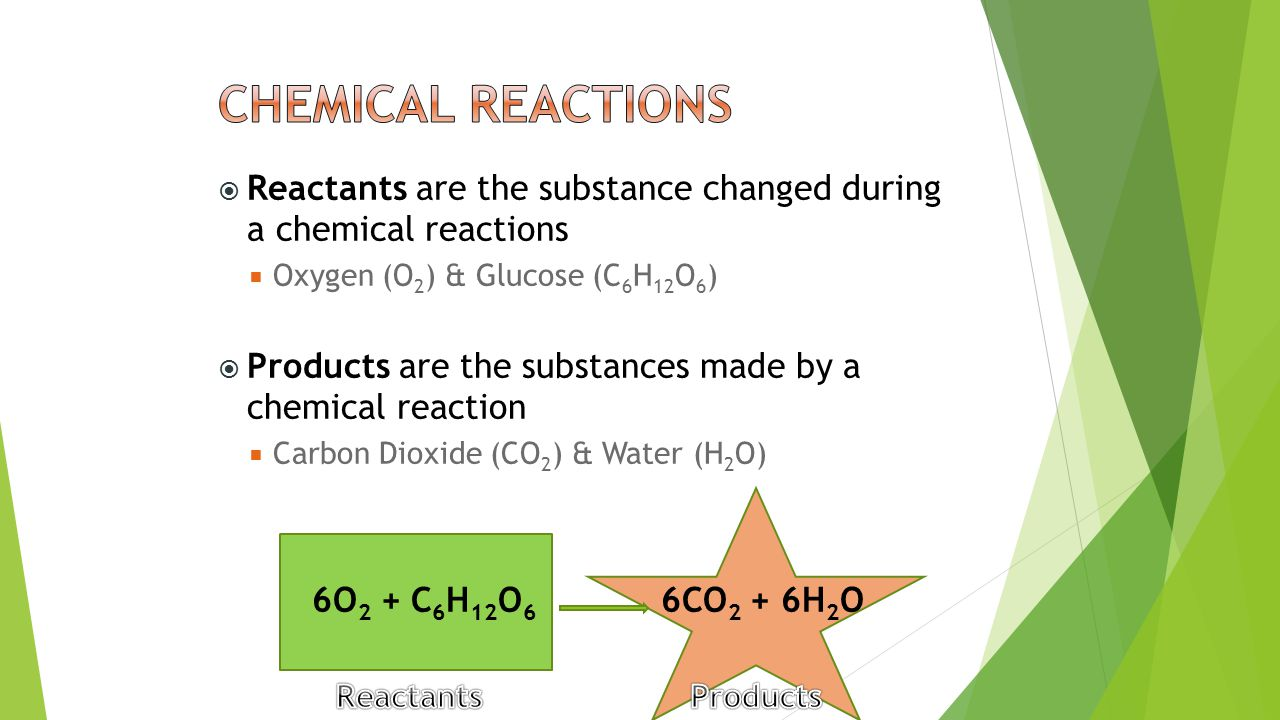  Reactants are the substance changed during a chemical reactions  Oxygen (O 2 ) & Glucose (C 6 H 12 O 6 )  Products are the substances made by a ch