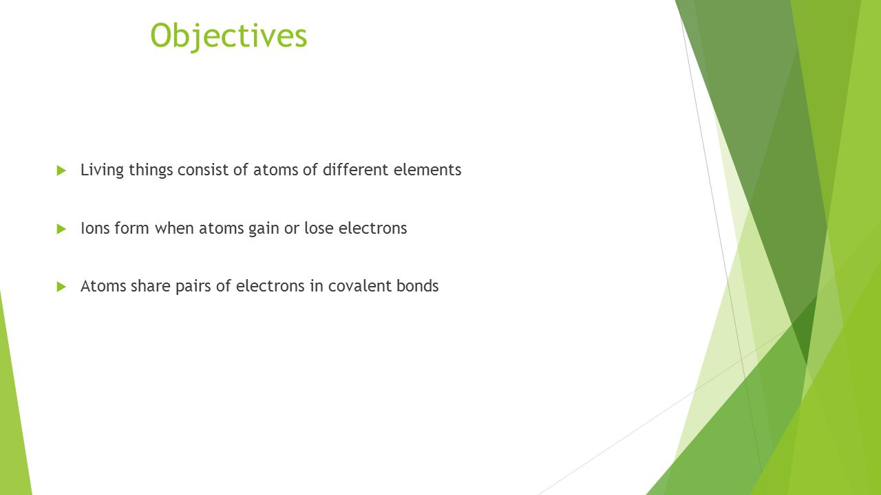 Objectives  Living things consist of atoms of different elements  Ions form when atoms gain or lose electrons  Atoms share pairs of electrons in covalent bonds