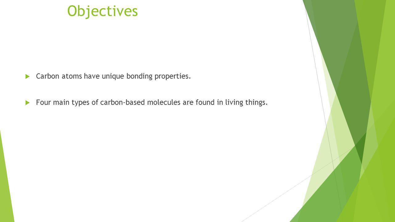 Objectives  Carbon atoms have unique bonding properties.