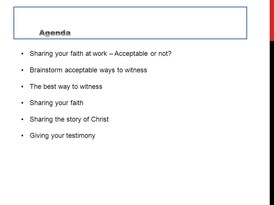 Sharing your faith at work – Acceptable or not.