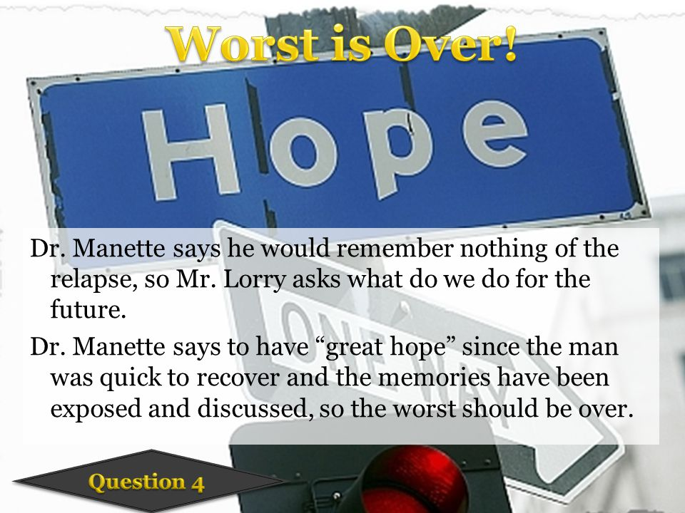 Dr. Manette says he would remember nothing of the relapse, so Mr.