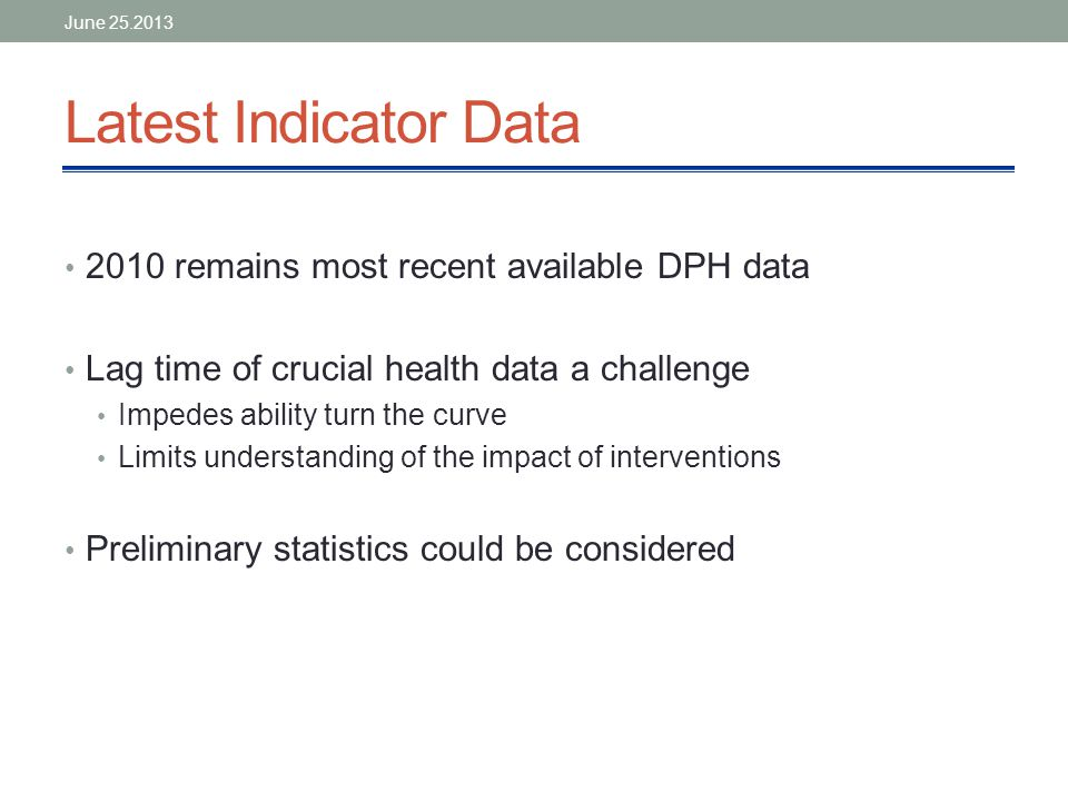 Latest Indicator Data 2010 remains most recent available DPH data Lag time of crucial health data a challenge Impedes ability turn the curve Limits understanding of the impact of interventions Preliminary statistics could be considered June 25.2013