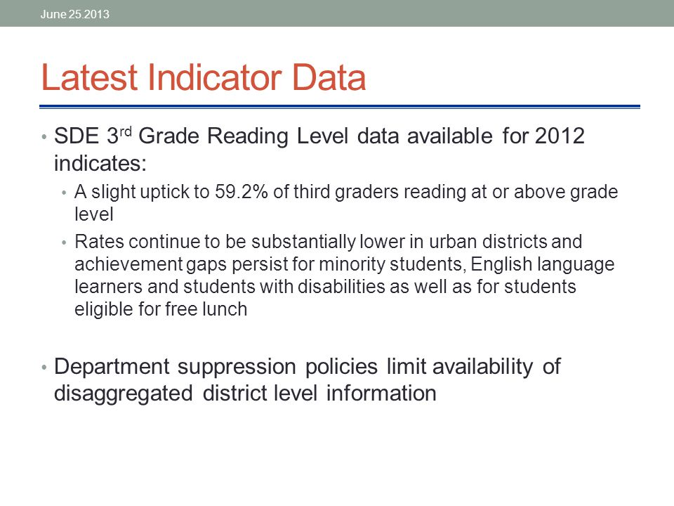 Latest Indicator Data SDE 3 rd Grade Reading Level data available for 2012 indicates: A slight uptick to 59.2% of third graders reading at or above grade level Rates continue to be substantially lower in urban districts and achievement gaps persist for minority students, English language learners and students with disabilities as well as for students eligible for free lunch Department suppression policies limit availability of disaggregated district level information June 25.2013