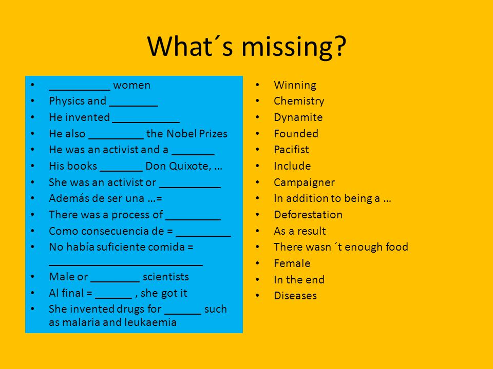 What´s missing.