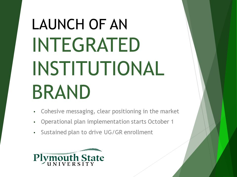 LAUNCH OF AN INTEGRATED INSTITUTIONAL BRAND Cohesive messaging, clear positioning in the market Operational plan implementation starts October 1 Susta