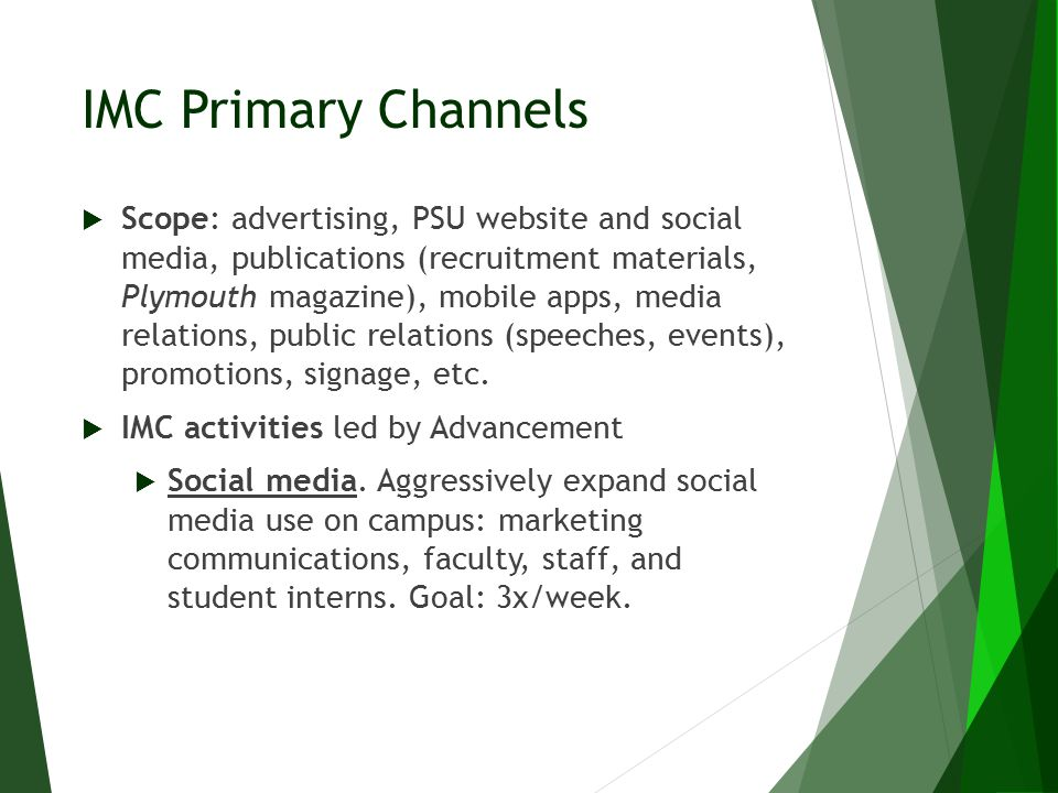 IMC Primary Channels  Scope: advertising, PSU website and social media, publications (recruitment materials, Plymouth magazine), mobile apps, media r