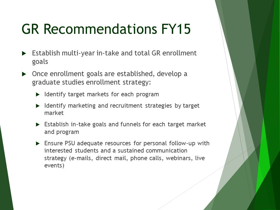 GR Recommendations FY15  Establish multi-year in-take and total GR enrollment goals  Once enrollment goals are established, develop a graduate studies enrollment strategy:  Identify target markets for each program  Identify marketing and recruitment strategies by target market  Establish in-take goals and funnels for each target market and program  Ensure PSU adequate resources for personal follow-up with interested students and a sustained communication strategy (e-mails, direct mail, phone calls, webinars, live events)