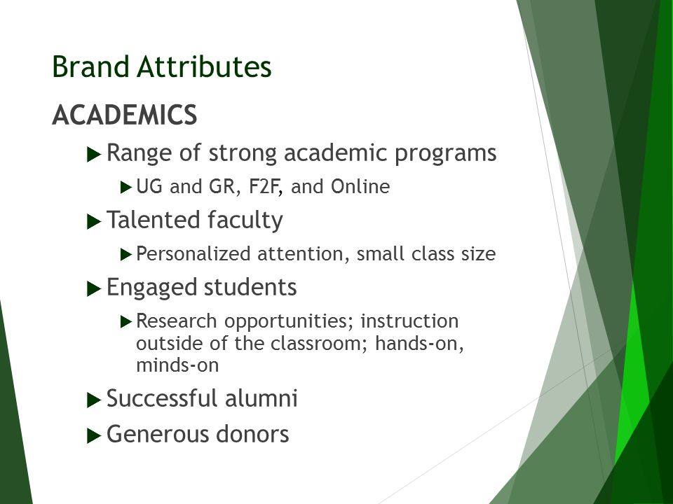Brand Attributes ACADEMICS  Range of strong academic programs  UG and GR, F2F, and Online  Talented faculty  Personalized attention, small class s