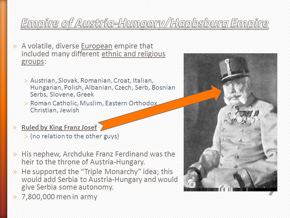 » A volatile, diverse European empire that included many different ethnic and religious groups: ˃Austrian, Slovak, Romanian, Croat, Italian, Hungarian, Polish, Albanian, Czech, Serb, Bosnian Serbs, Slovene, Greek ˃Roman Catholic, Muslim, Eastern Orthodox Christian, Jewish » Ruled by King Franz Josef ˃(no relation to the other guys) » His nephew, Archduke Franz Ferdinand was the heir to the throne of Austria-Hungary.