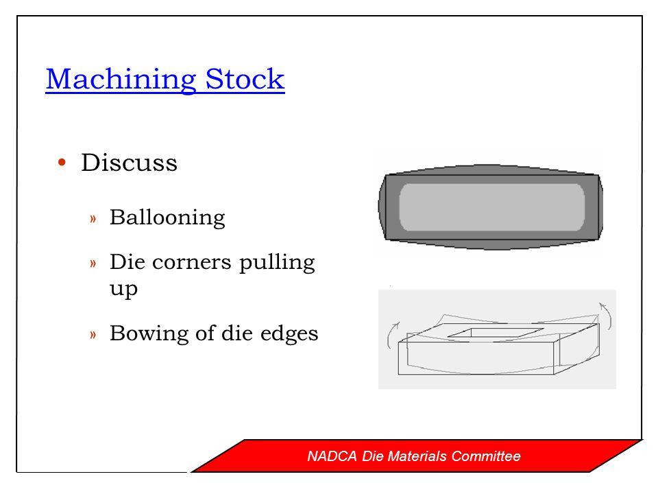 NADCA Die Materials Committee Machining Stock Discuss »Ballooning »Die corners pulling up »Bowing of die edges